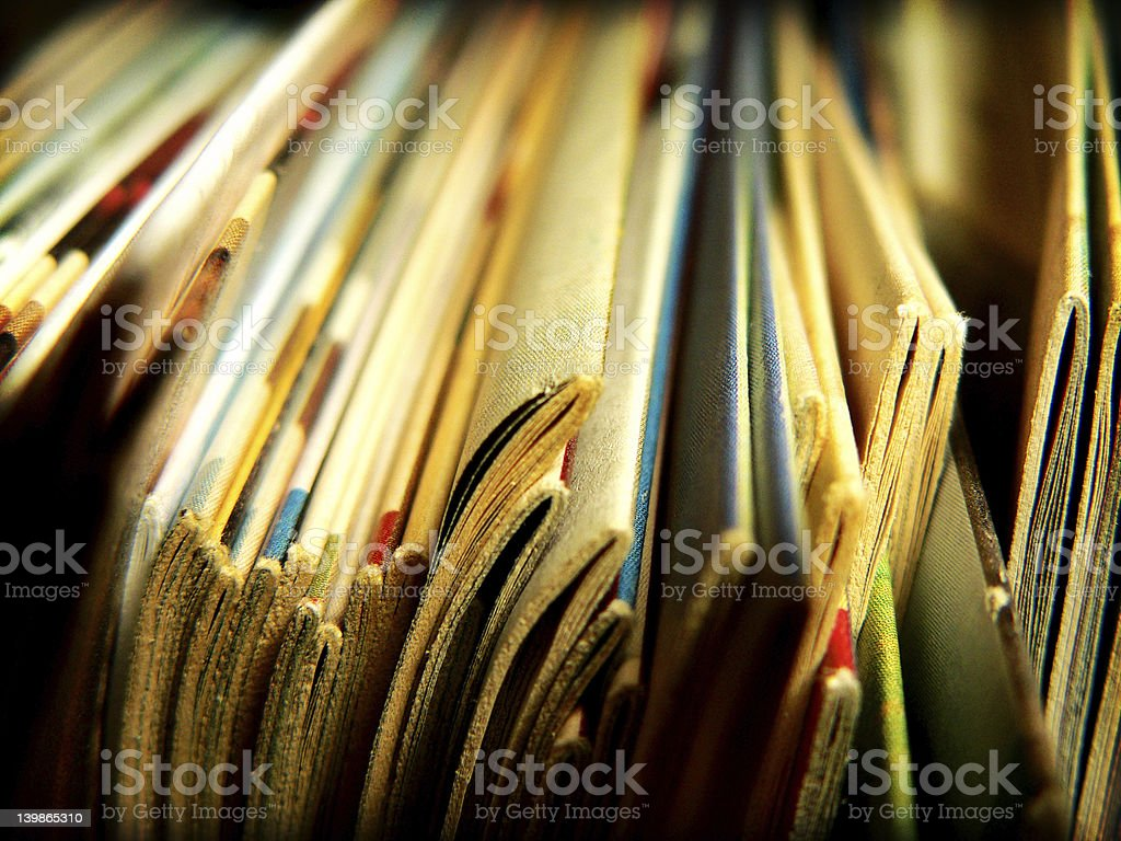 Books, comics or magazines stock photo