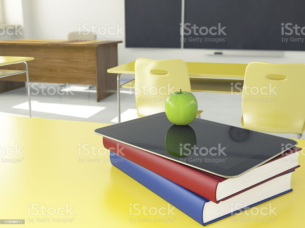 Books, Digital Tablet and Apple royalty-free stock photo