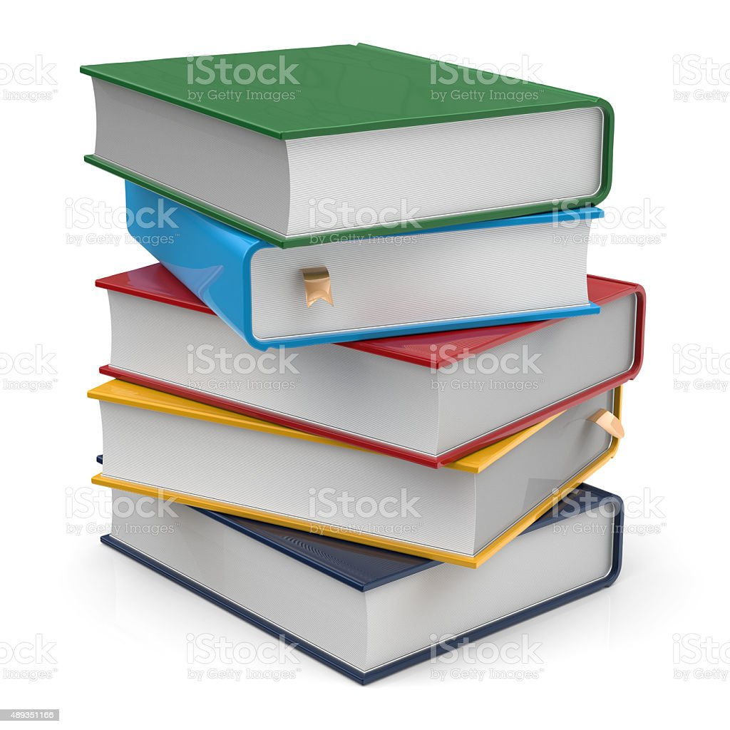 Books five 5 blank covers textbooks stack different colorful stock photo