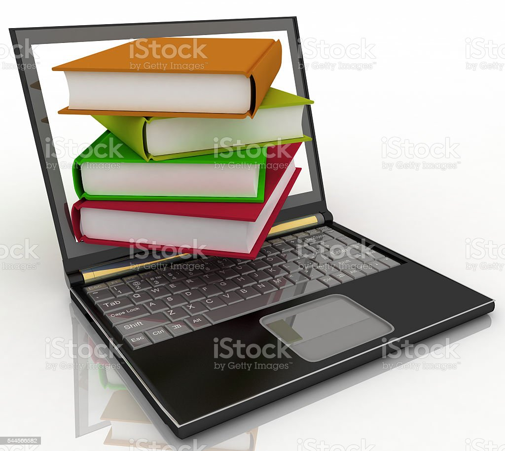 Books from your laptop on a white stock photo