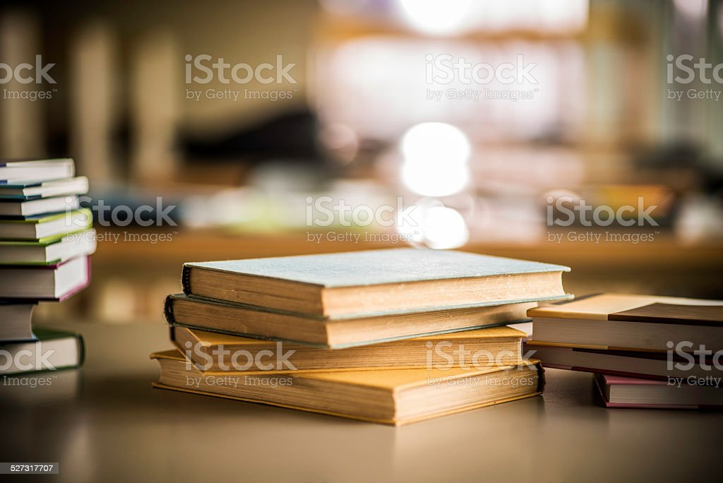 Books in a Library stock photo