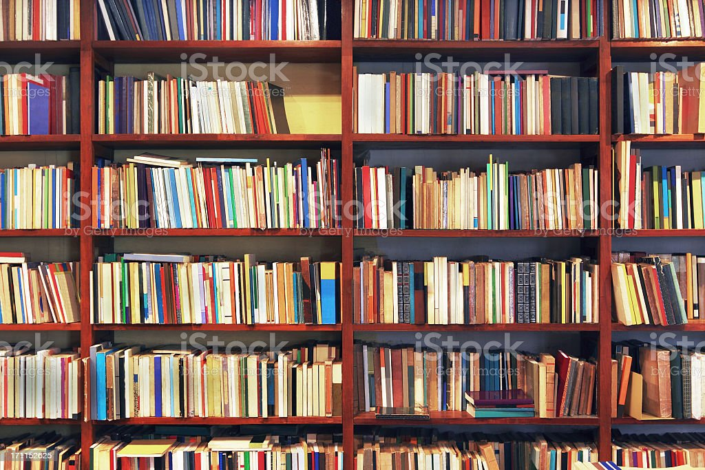 Books in a secondhand bookstore stock photo
