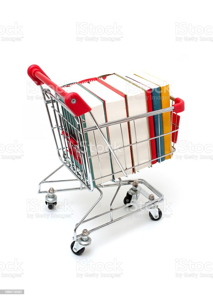 Books in Shopping Cart isolated on white background royalty-free stock photo