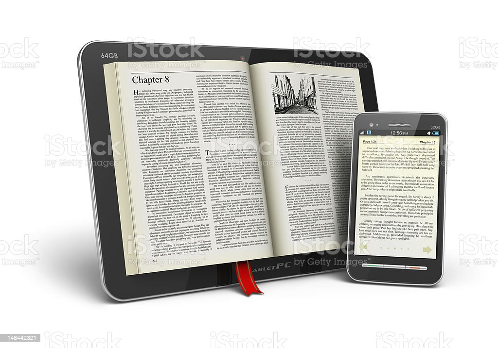 Books in tablet computer and smartphone stock photo