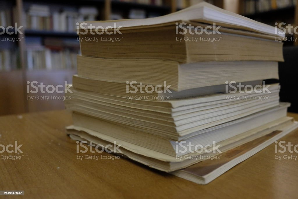 Books in the library stock photo