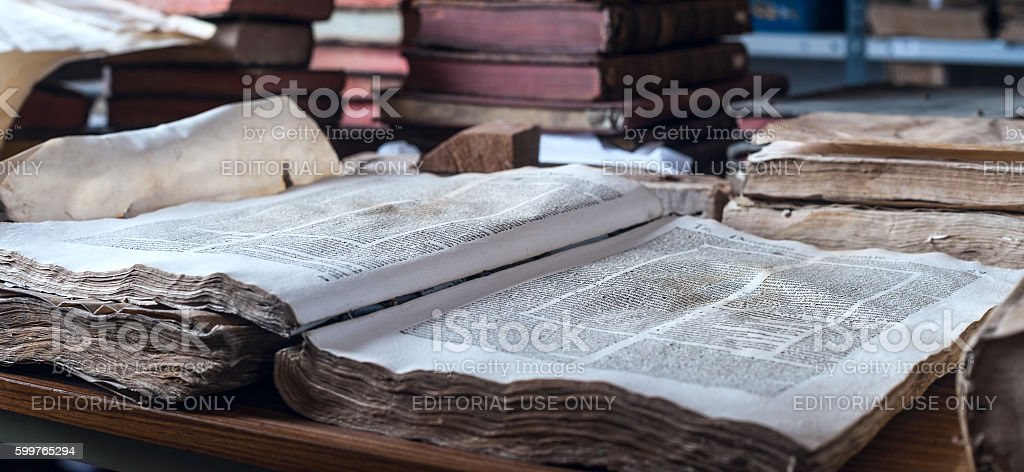 Books in the Ricoleta Library in Arequipa, Peru stock photo