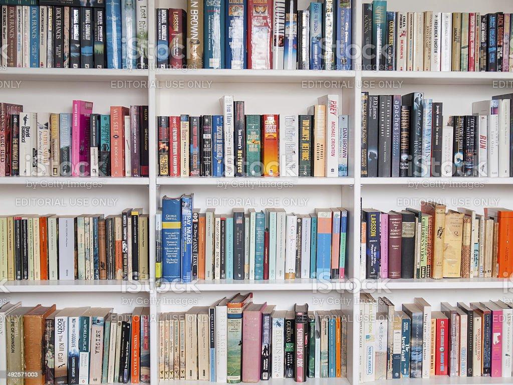 books on a book shelf stock photo