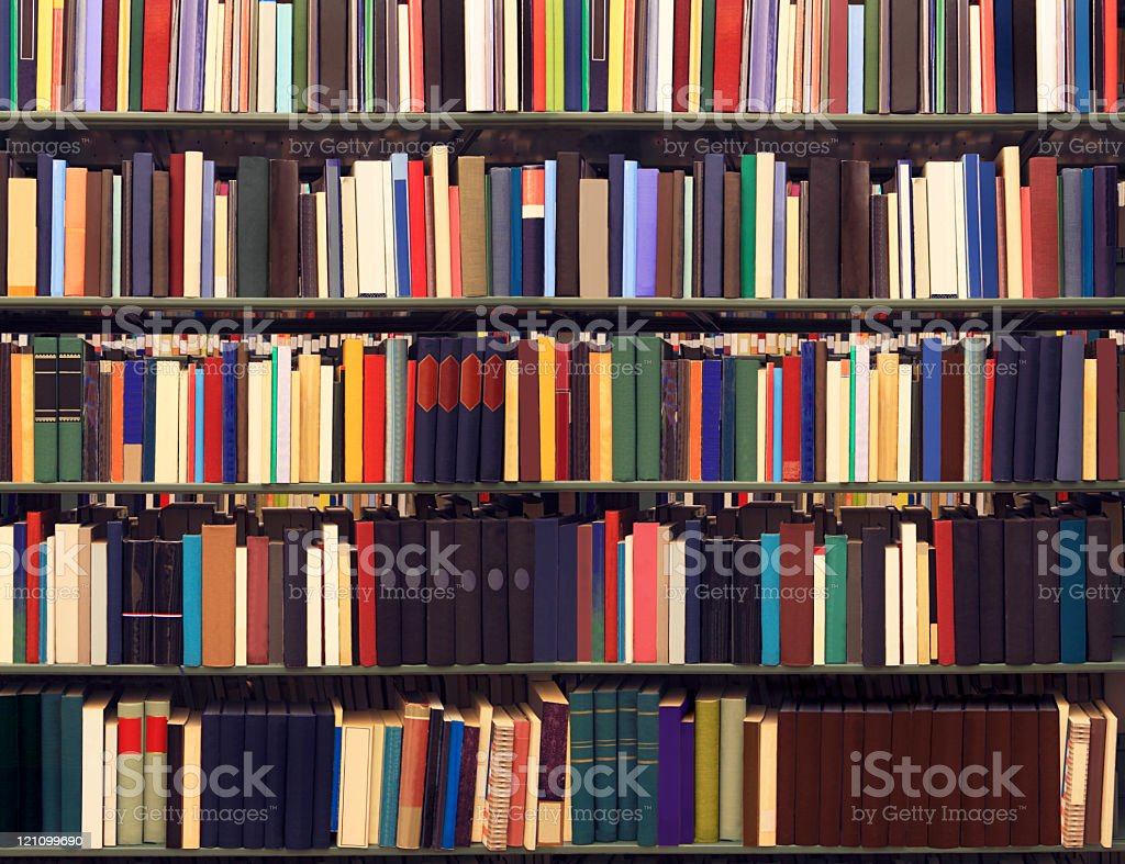 Books on a library royalty-free stock photo