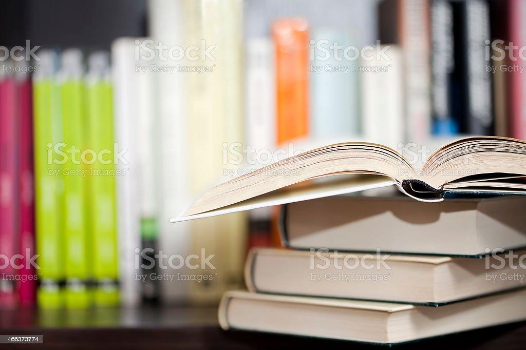 Books on a shelf stock photo
