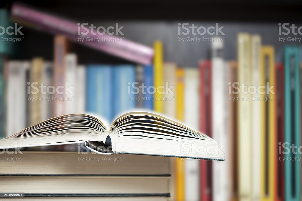 Books on a shelf stock photo