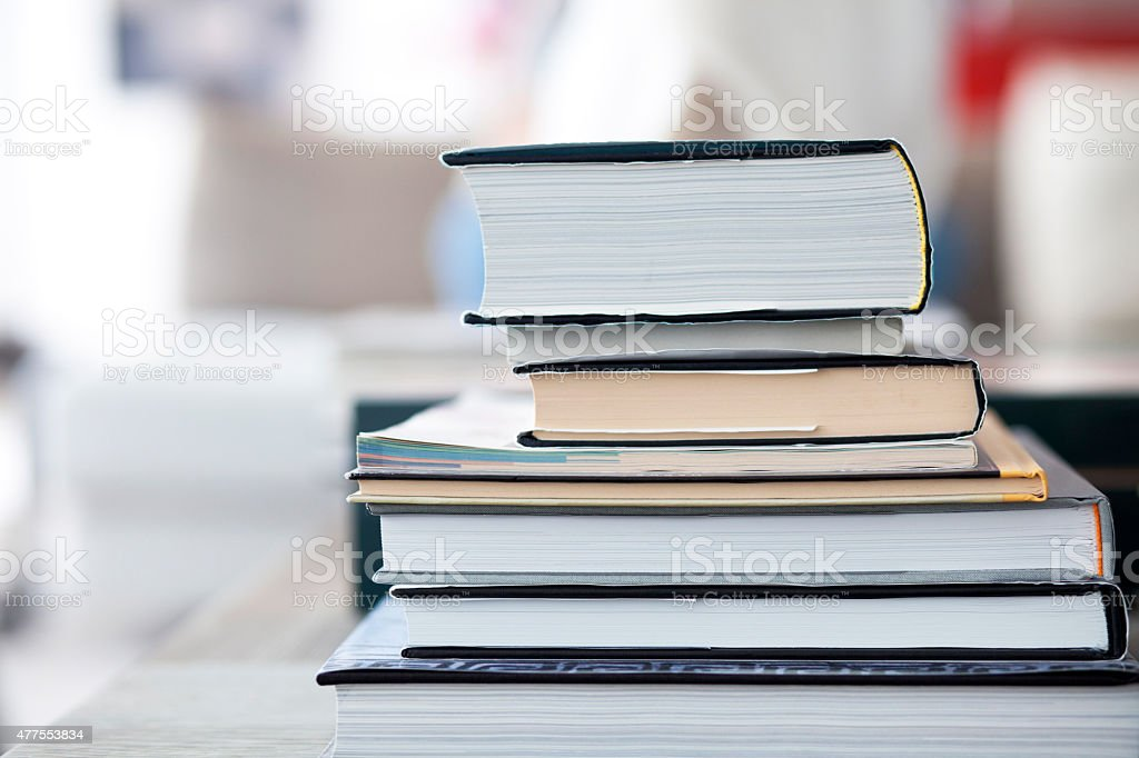 Books on a table stock photo