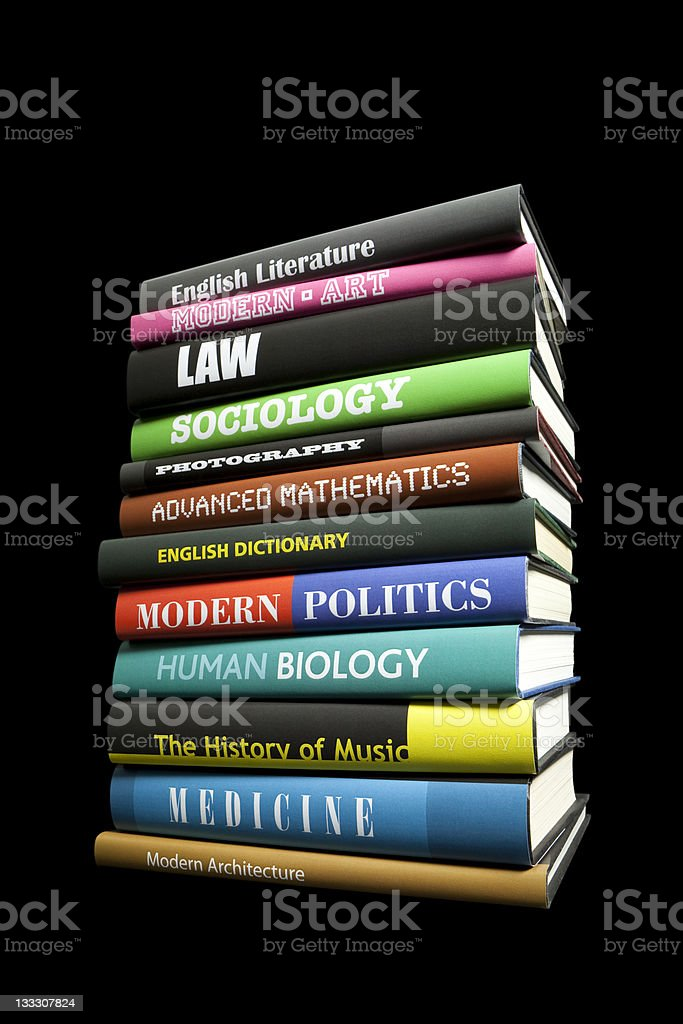 Books on black stock photo