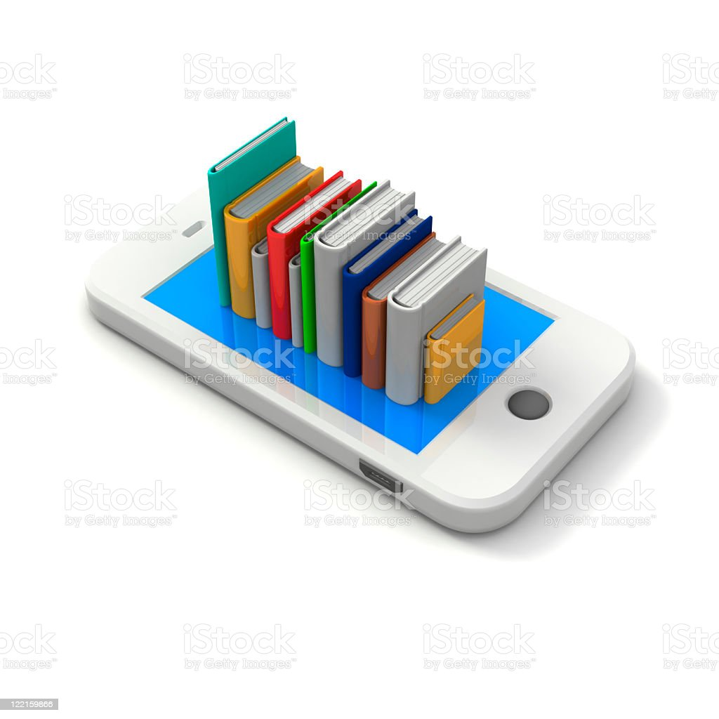Books On Cellular Phone royalty-free stock photo