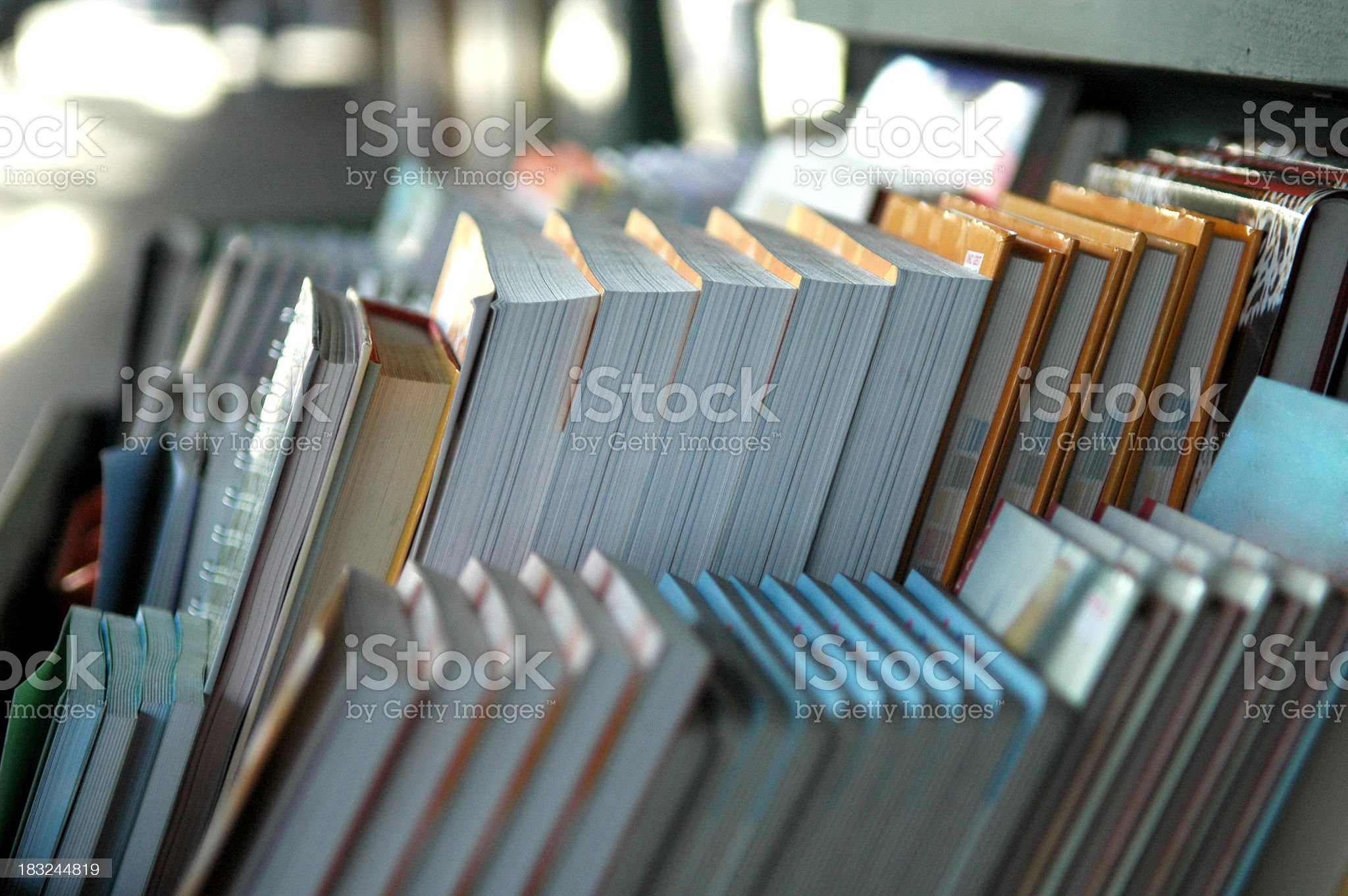 Books on display in rows in a book shop royalty-free stock photo