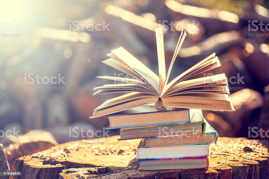 books on natural background. stock photo