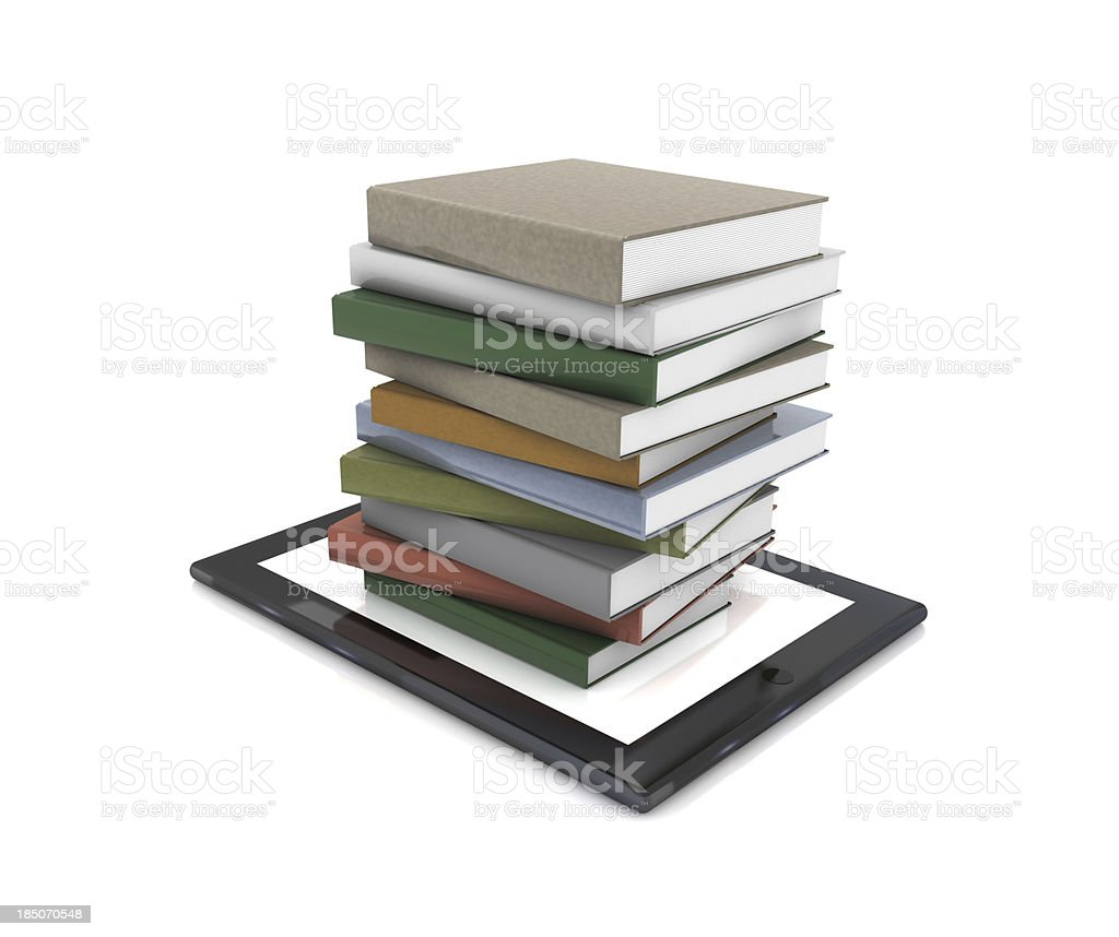 Books on Tablet PC stock photo
