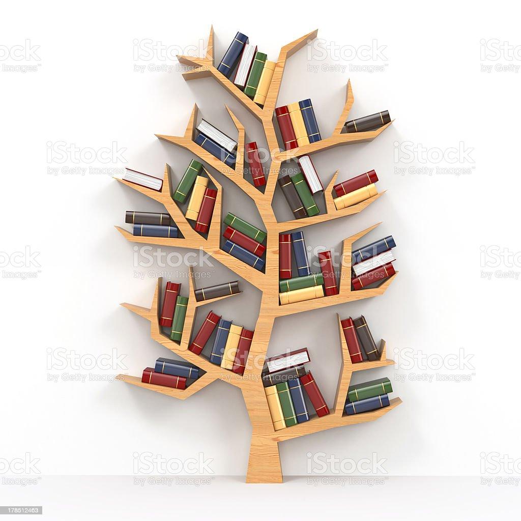 Books on tree-shaped bookshelf on white background royalty-free stock photo