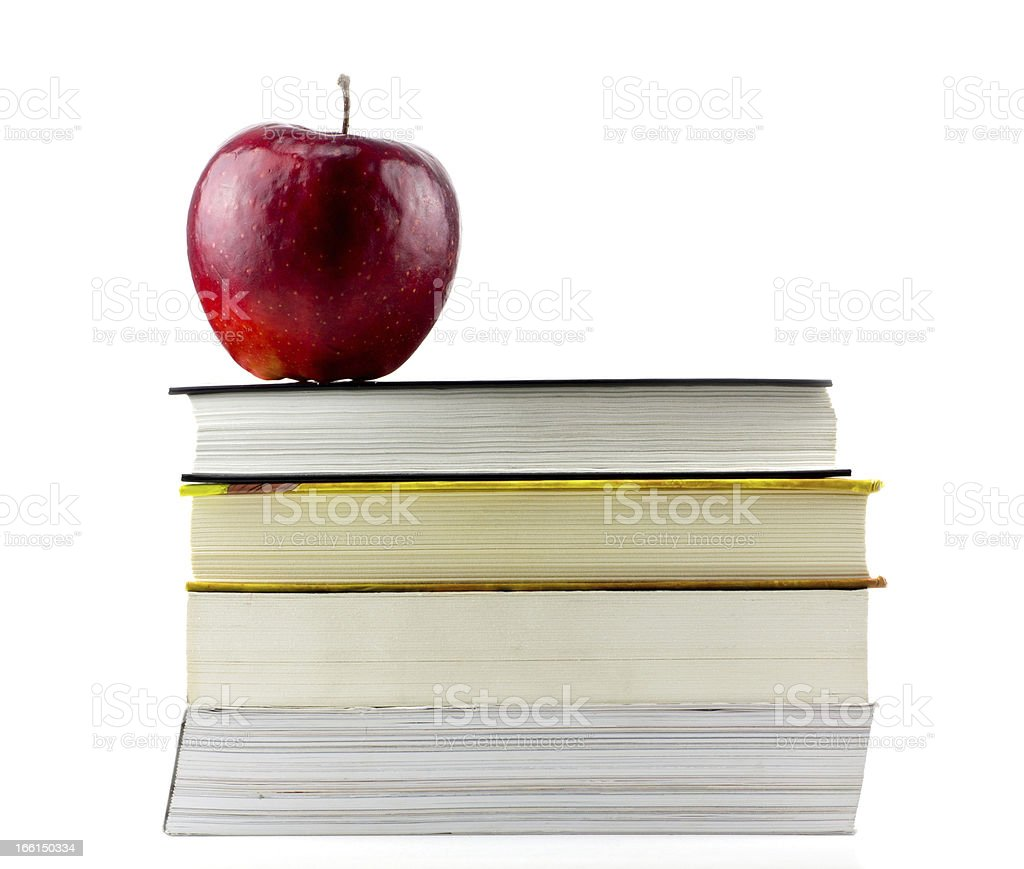 Books tower with apple royalty-free stock photo
