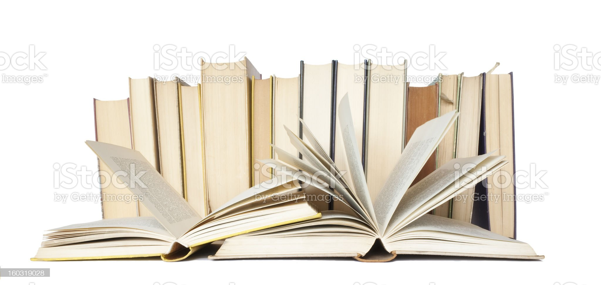 books, two opened, free copy space, isolated on white background royalty-free stock photo