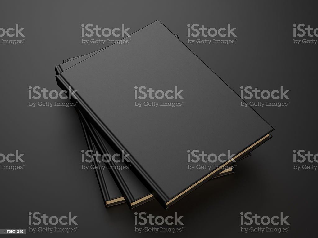 books with black blank cover. 3d render stock photo