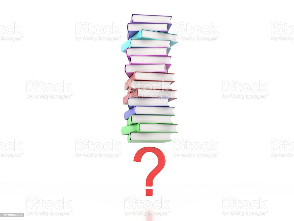 Books with Question mark Symbol stock photo