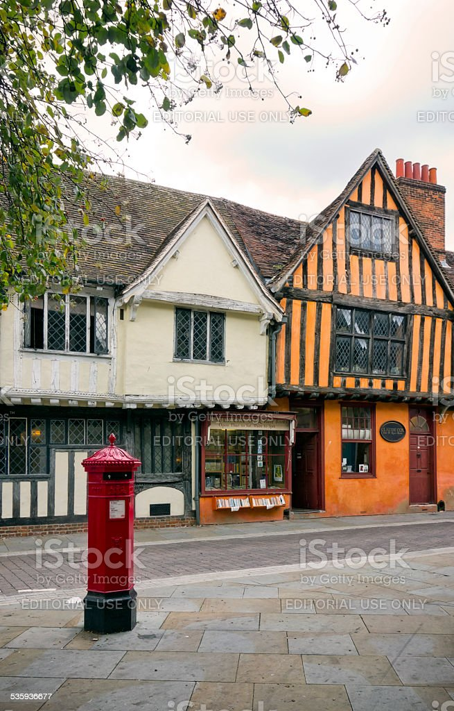 Bookseller's shop and postbox in Ipswich stock photo