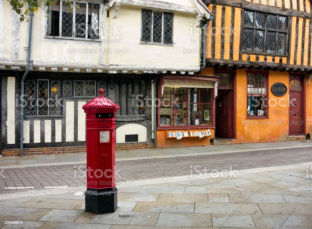 Bookseller's shop in Silent Street, Ipswich stock photo
