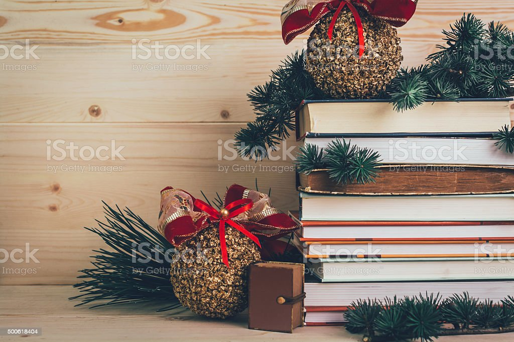 Books-gifts for Christmas with decoration stock photo