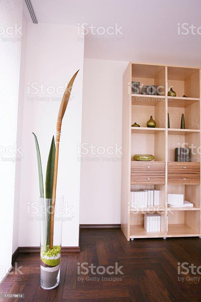 Bookshelf edge in living room stock photo