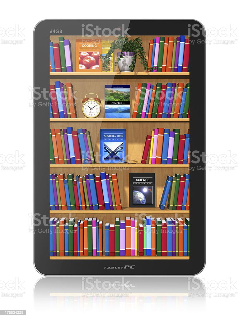 Bookshelf in tablet computer royalty-free stock photo