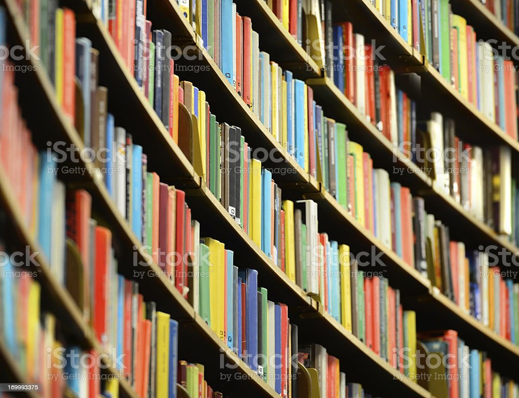Bookshelf inside Stockholm Public Library stock photo