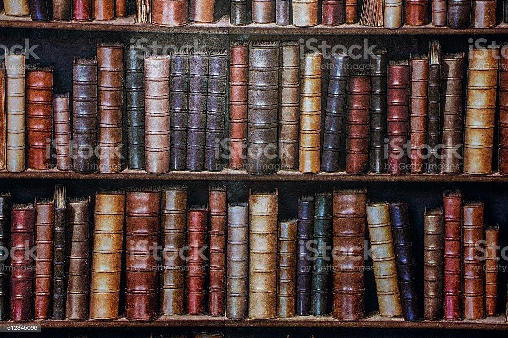 Bookshelf wallpaper. stock photo
