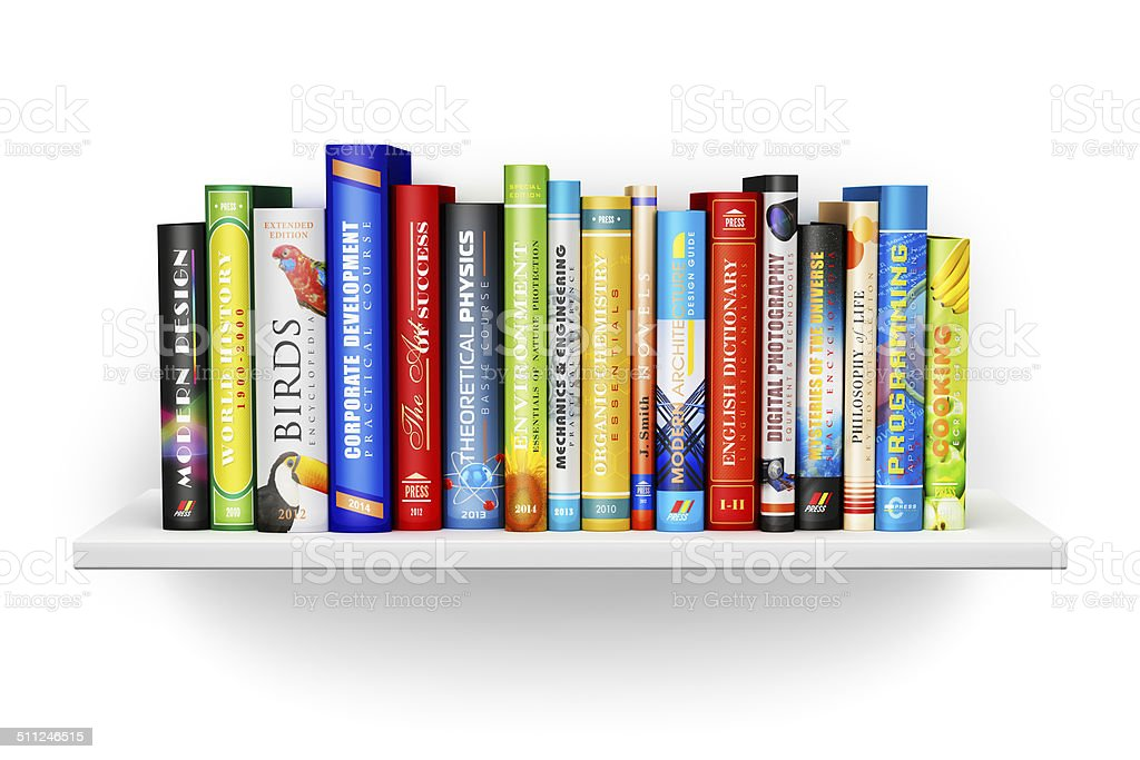 Bookshelf with color hardcover books stock photo