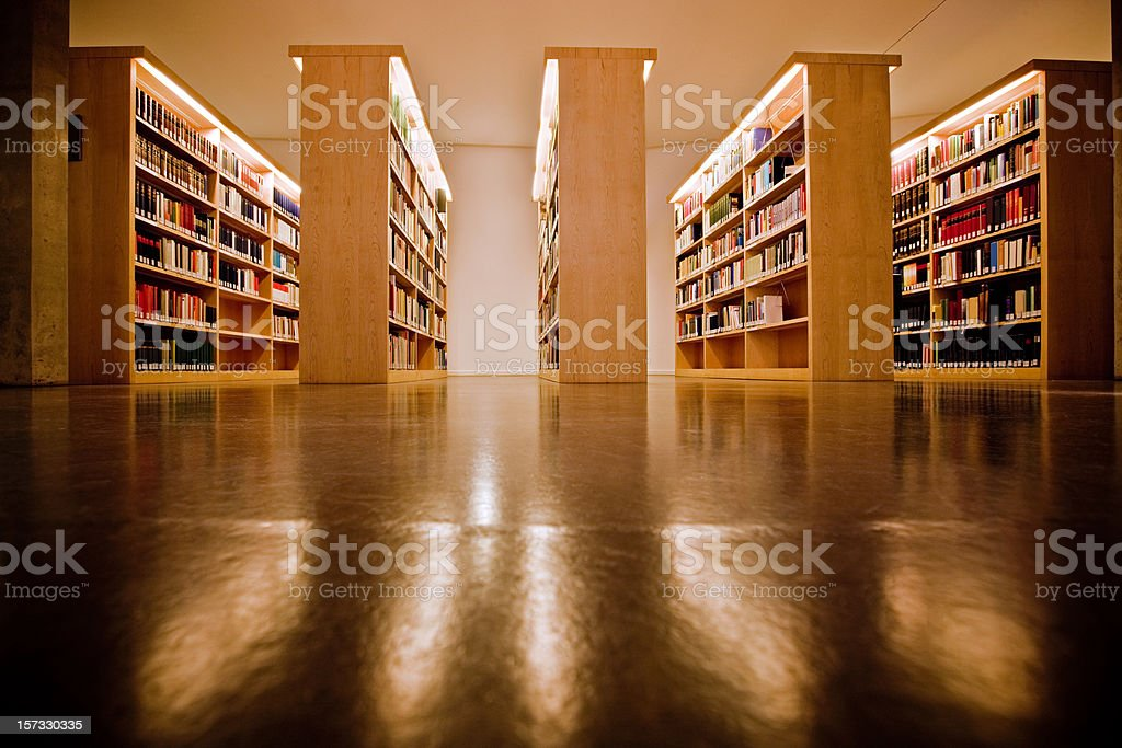 Bookshelves at the library royalty-free stock photo