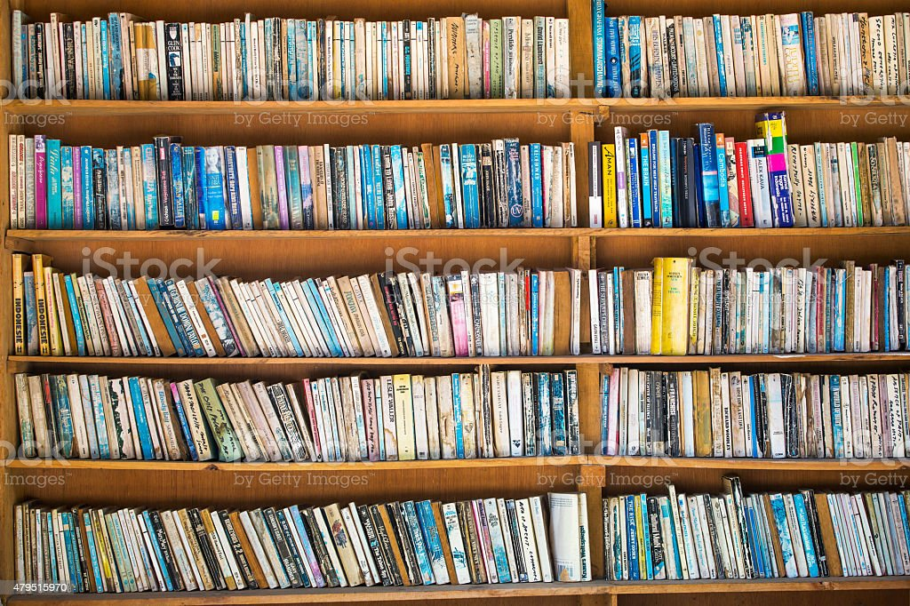 Tuk-tuk, Sumatra, Indonesia - March 13, 2015: Bookshelves on str stock photo