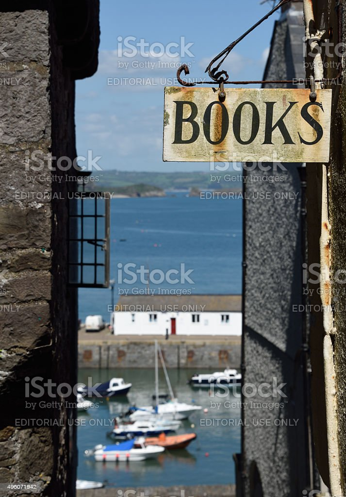Bookshop Sign in Tenby stock photo