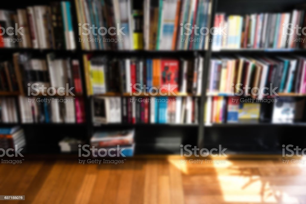 Bookstore blur background with miscellaneous books shelf, useful for...