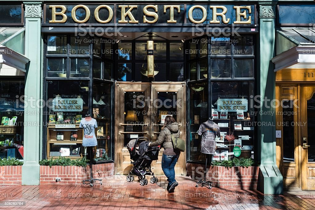 Bookstore, Historic Pearl Street Mall in Boulder Colorado stock photo