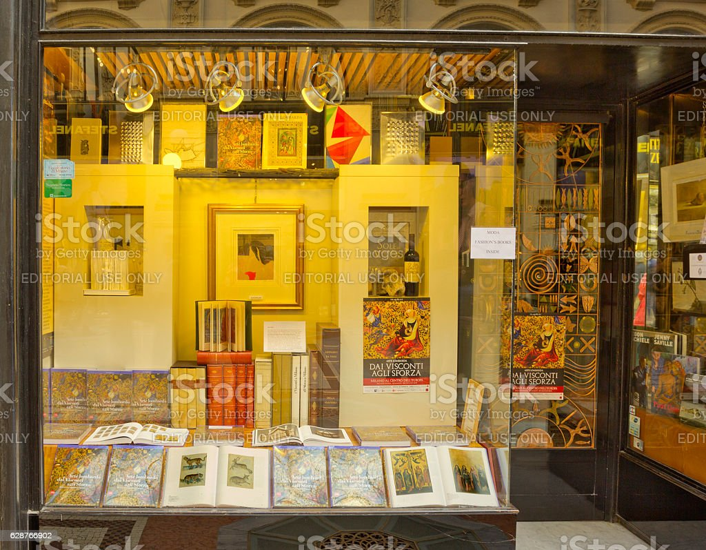 Bookstore window case in Milan, Italy stock photo
