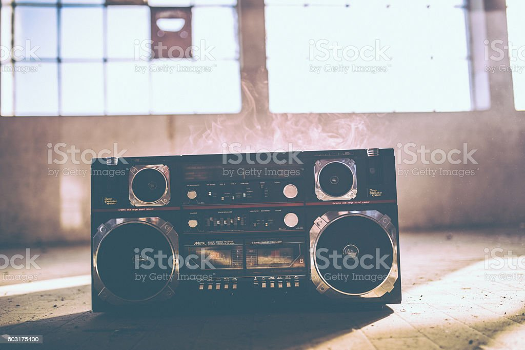 Boom box and smoke stock photo