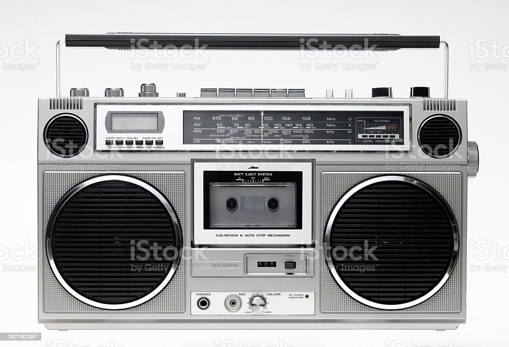 Boom box with cassette player and radio stock photo