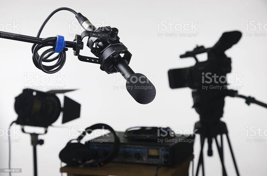 Boom microphone with mixer and video camera stock photo
