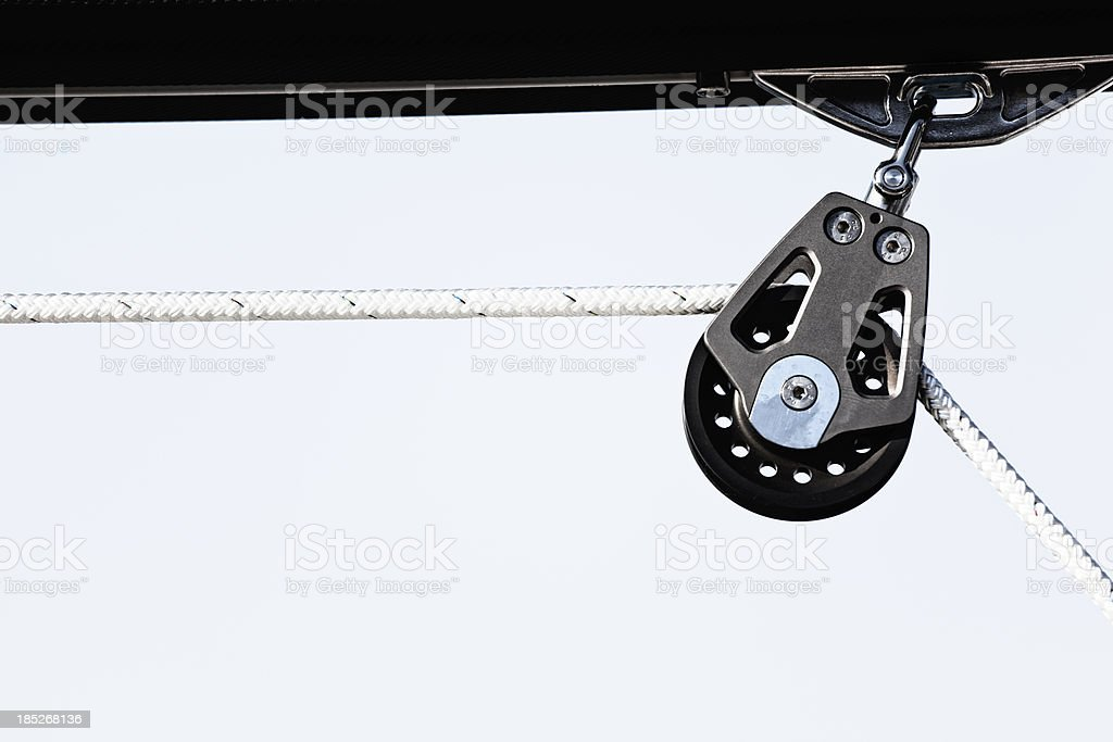 boom rope pulley stock photo