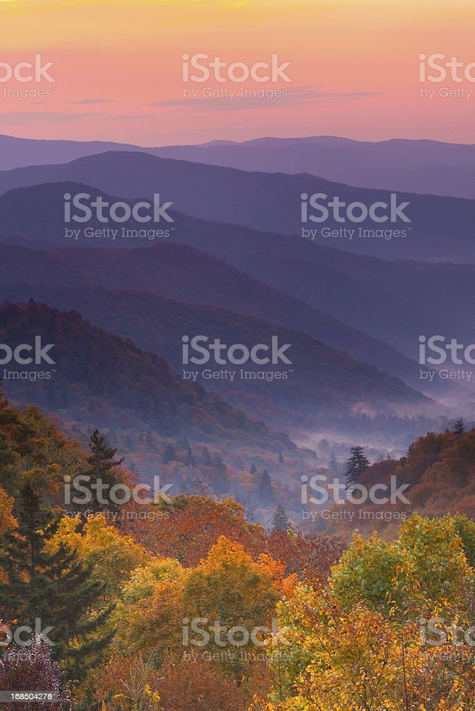 Boom view of magnificent autumn mountain sunrise stock photo