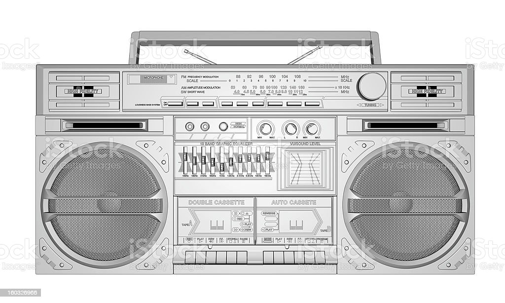 Boombox With Outline. Front View. stock photo