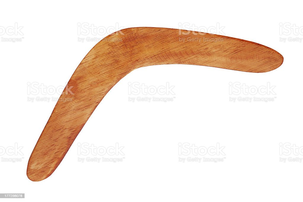 Boomerang bright brown color of wood stock photo
