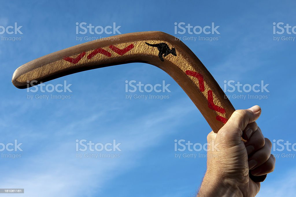 Boomerang held in hand stock photo