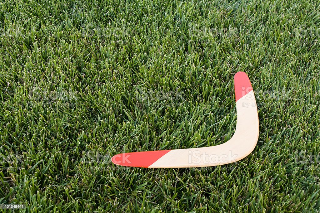Boomerang on Grass stock photo