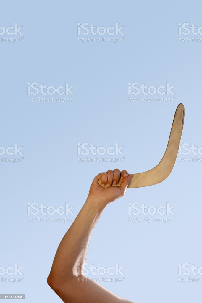 boomerang throw stock photo