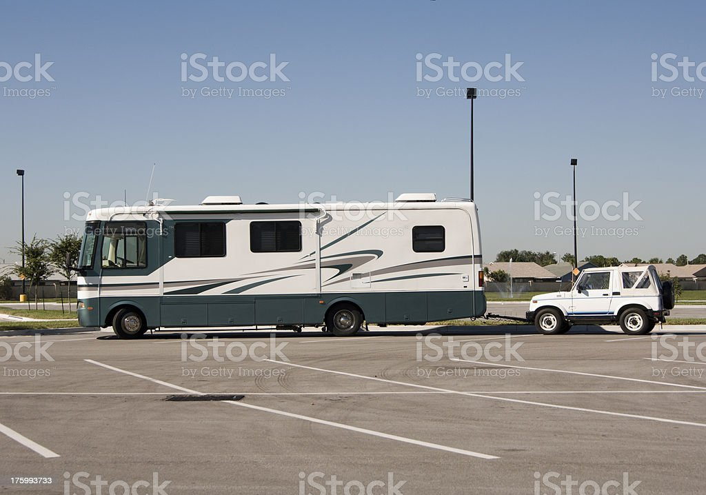 Boondocking class A with dinghy stock photo